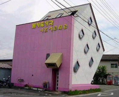 pink upside down house