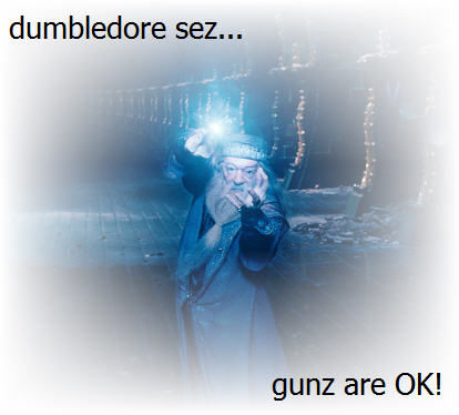 harry potter dumbledore says guns are ok