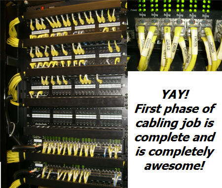 cabling job with labels