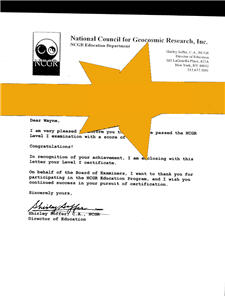 ncgr level 1 certificate cover letter