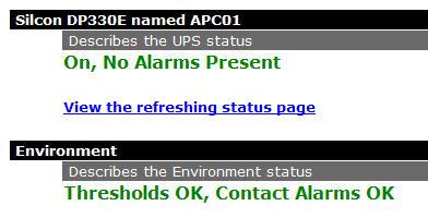 Refreshing status page