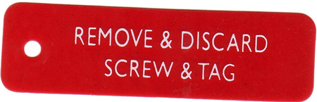 remove & discard screw & tag