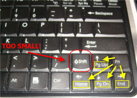 sony vaio laptop keyboard is too small shift fn function key