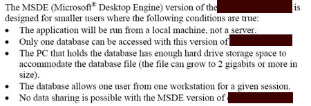 Technical writing example msde sql server size limitation