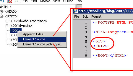 ie developer toolbar element source