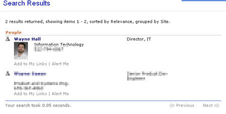 sharepoint people finder search results wayne